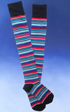 Striped Over-the-Knee Socks -Black