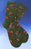 Fat Turkey Socks on Olive Background