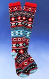 Fair Isle Knee-High Socks in Red