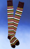 Striped Over-the-Knee Socks -Brown