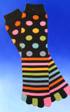 Dots and Stripes Toe Socks