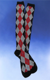 Argyle Knee High - Black, Gray & Red