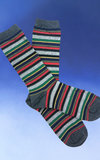 Grey and Color Striped Socks