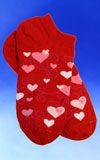 Red Ankle Swirly Hearts Socks