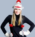 Cute Grey Sock Monkey Mittens