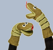 Silly Green Snake Mitts