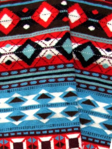 Fair Isle Knee-High Socks in Red - Click Image to Close