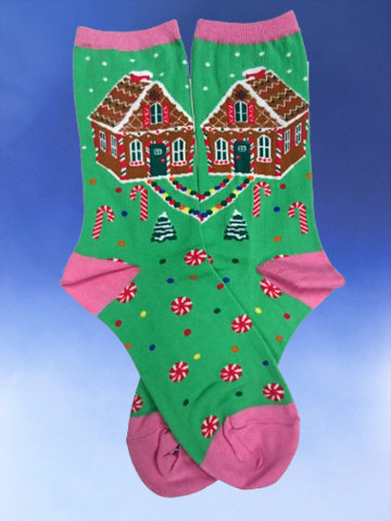 Gingerbread House Socks - Click Image to Close