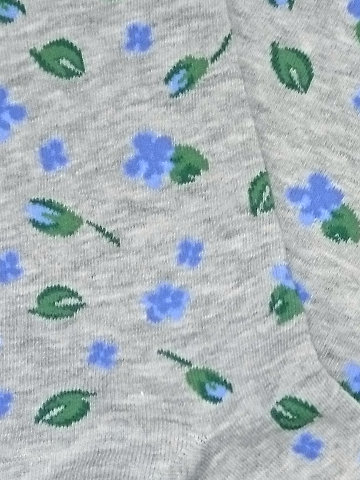 Blue Flowers and Leaves Socks - Click Image to Close