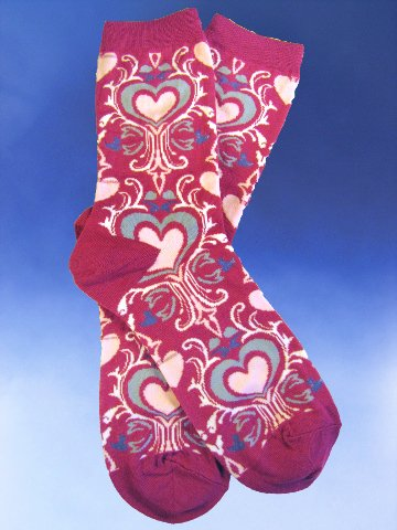Art Nouveau Hearts Socks - Click Image to Close