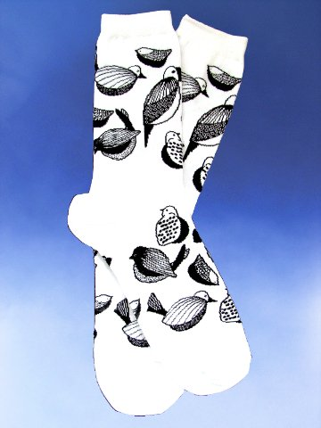 Black and White Love Birds Socks - Click Image to Close