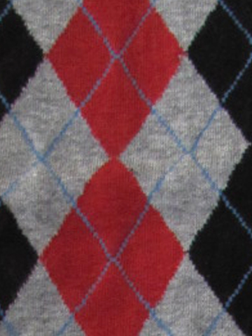 Argyle Knee High - Black, Gray & Red - Click Image to Close