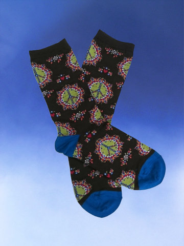 Funky Peace Sign Socks - Click Image to Close