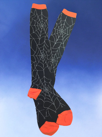 Black Spooky Spider Web Knee-Highs - Click Image to Close