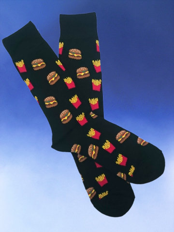 Men's Burger and Fries Socks - Click Image to Close