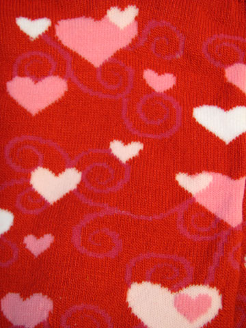 Red Ankle Swirly Hearts Socks - Click Image to Close