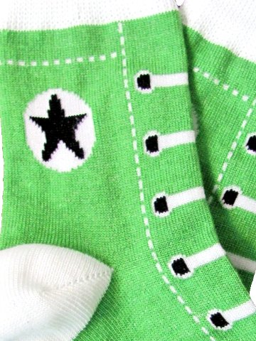 Children's Green Sneaker Socks - Click Image to Close