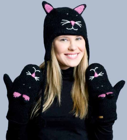 Kitty Cat Face Mittens - Click Image to Close